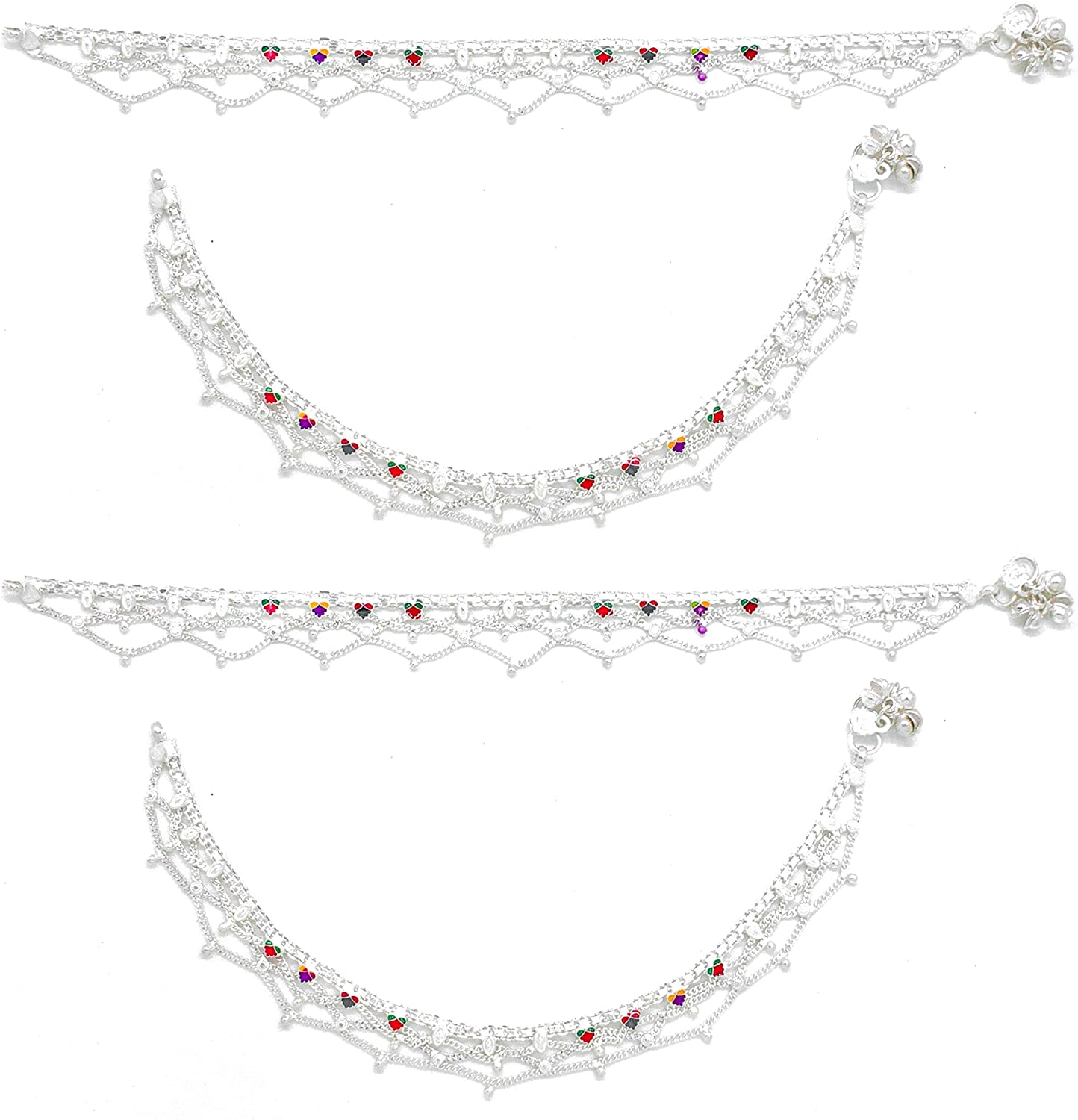 AanyaCentric Indian Ethnic Payal White Metal Silver Plated Alloy Anklets Ankle Bracelets 10 inches Long Vintage Style for Womens Girls Feet Jewelry Beach Wedding Sandals with Jingle Bells Charm