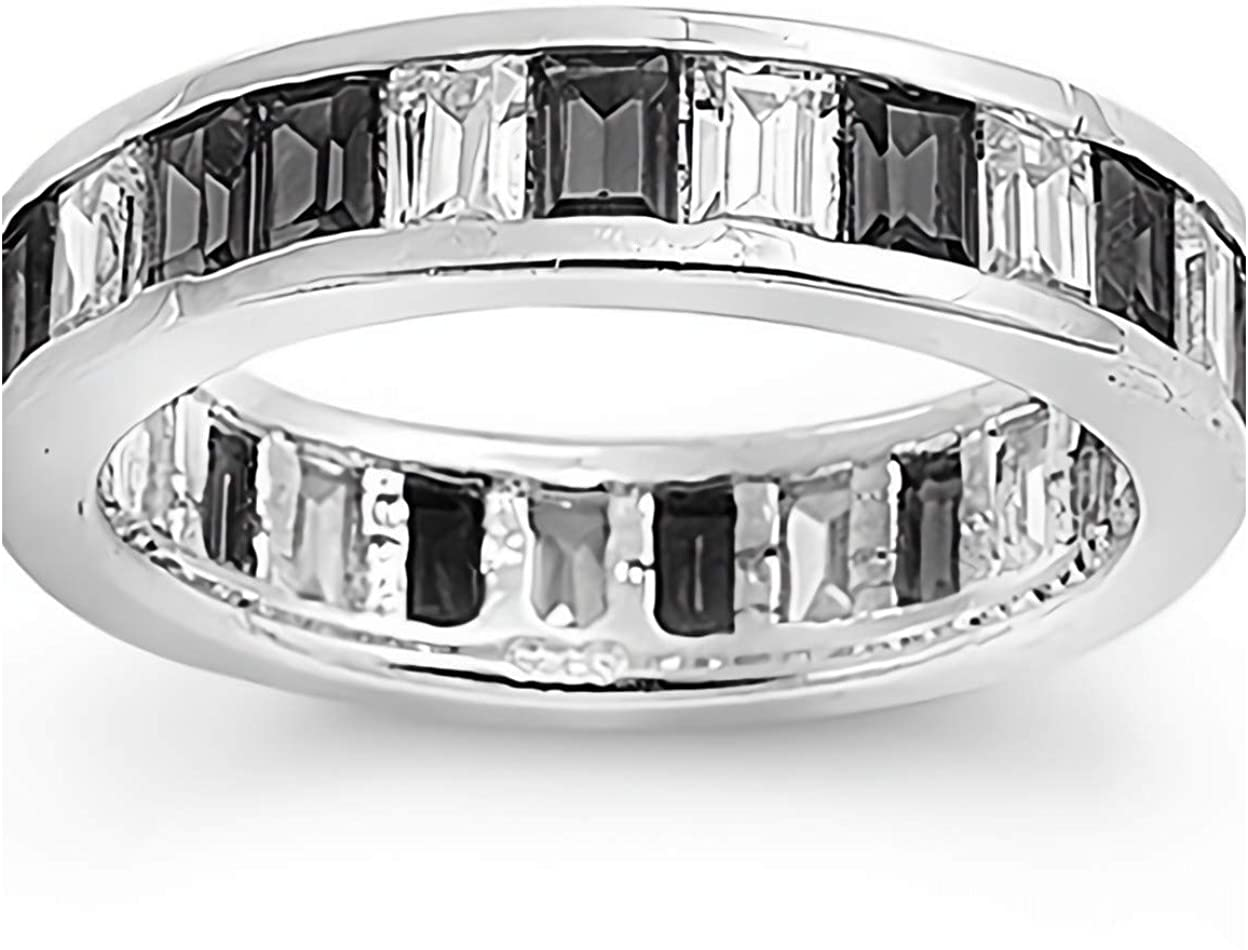 Glitzs Jewels 925 Sterling Silver CZ Ring (Black & Clear) | Cubic Zirconia Jewelry Gift