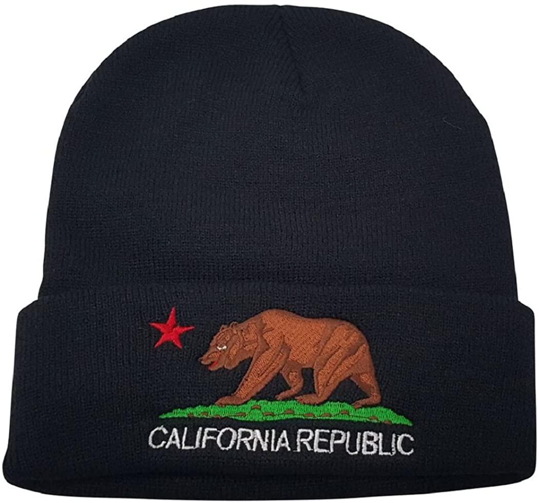 Delano Unisex California Republic Bear Cuffed Beanie Knit Hat Cap (One Size, Many Colors)