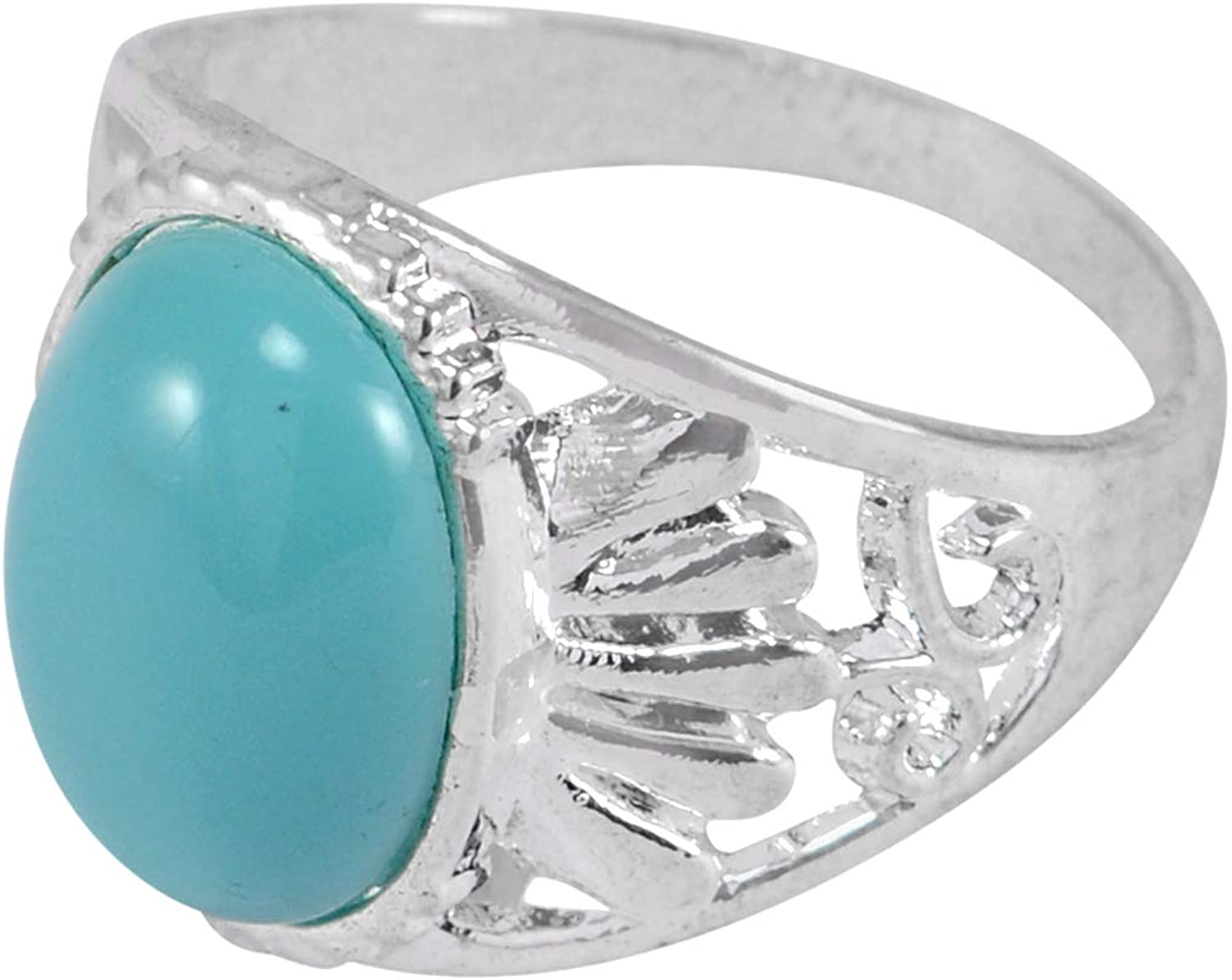 Saamarth Impex Straight Shank, Silver, Jaipur Rajasthan India Blue Combination, Oval Blue Stone, Handmade Jewelry Manufacturer 925 Sterling Silver Plated Ring