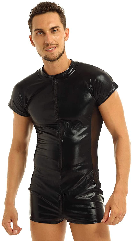 YiZYiF Men's One-Piece Leather Look Zentai Catsuits Bodysuit Zipper Boxers Pants