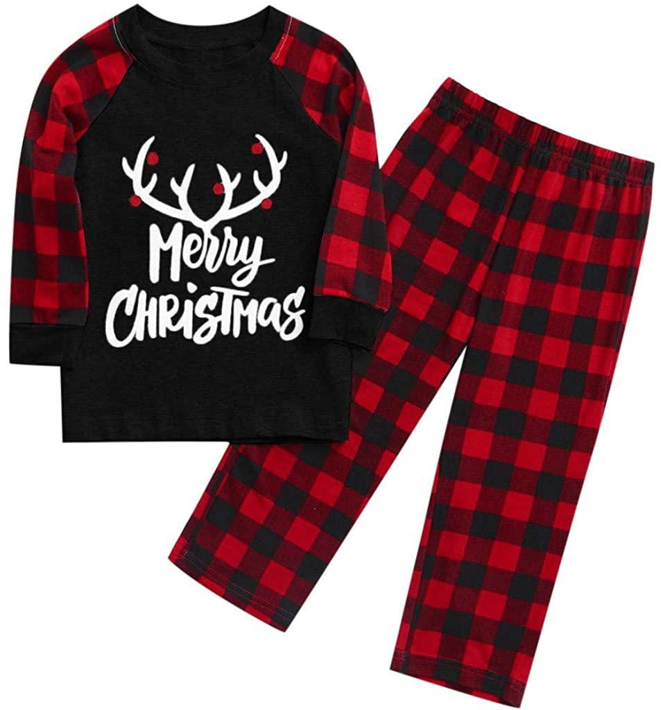 FACAIAFALO Matching Family Pajamas Sets Christmas PJ's with Letter and Plaid Printed Long Sleeve Tee and Pants Loungewear