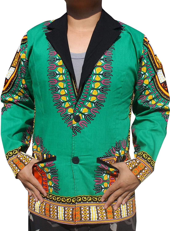 RaanPahMuang Mens Fashion Lined Cotton Suit Jacket Confident African Dashiki Art