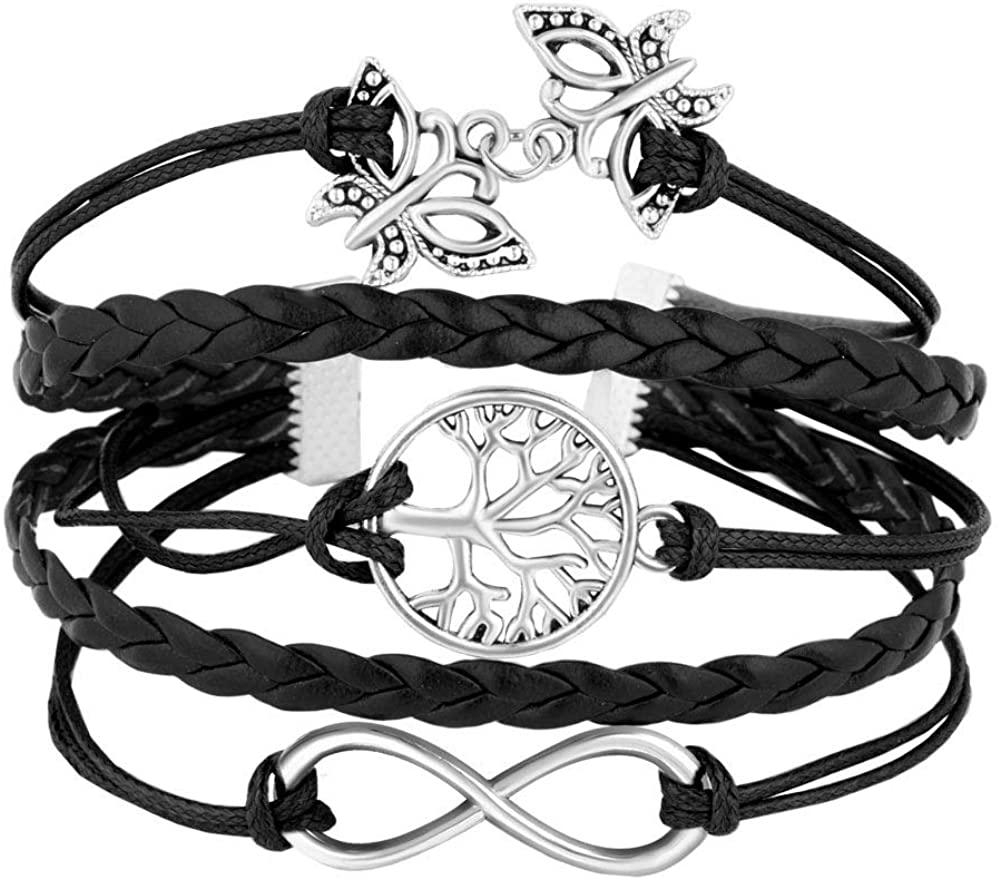 EV.YI Jewels Handmade Wrist Wrap Bangle Tree of Life Leather Rope Bracelet