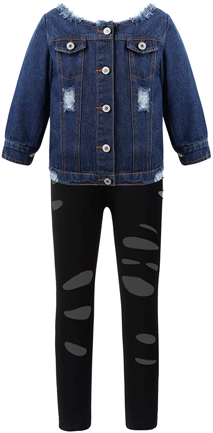 iiniim Kids Girls Long Sleeve Ripped Jean Jacket Coat with Shredded Leggings Pants Outfits Spring Autumn Fall Clothes