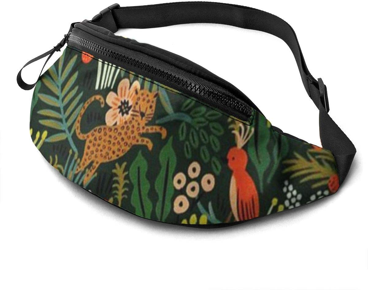 Tiger And Flower Fanny Pack For Men Women Waist Pack Bag With Headphone Jack And Zipper Pockets Adjustable Straps