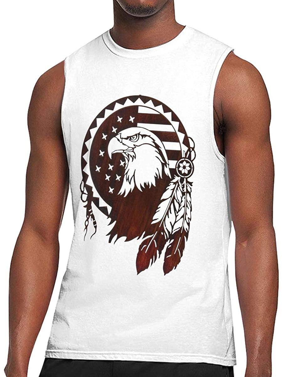 Native American Symbols Eagle Mens Round Collar Sleeveless Shirt Bodybuilding Tank Top