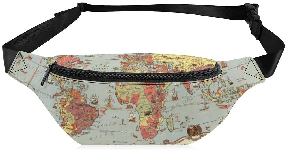 Fanny Pack for Men Women World Map Pattern Waterproof with Adjustable Strap Crossbody for Workout Vacation Hiking Running Festival Rave