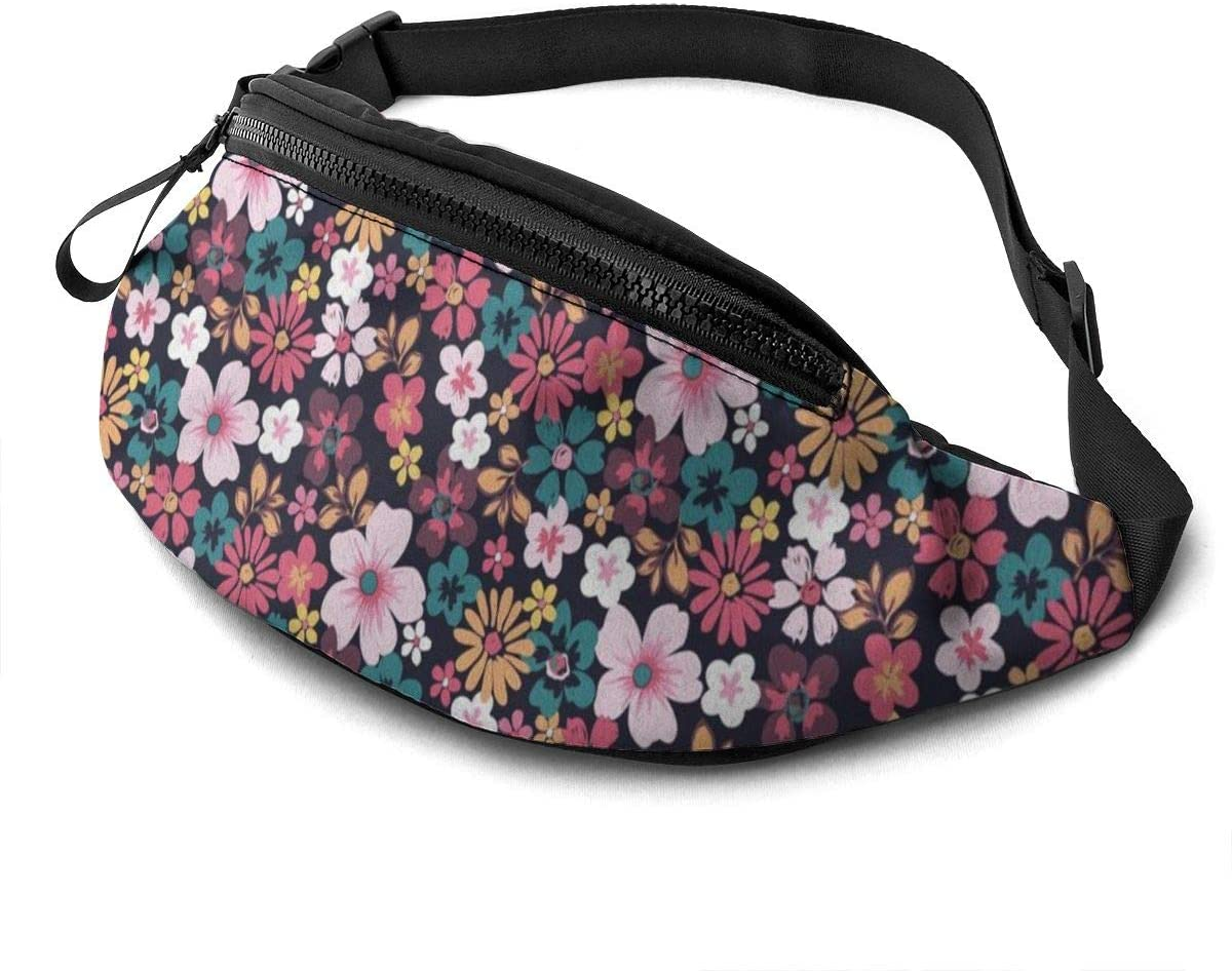 floret shading pattern Fanny Pack for Men Women Waist Pack Bag with Headphone Jack and Zipper Pockets Adjustable Straps