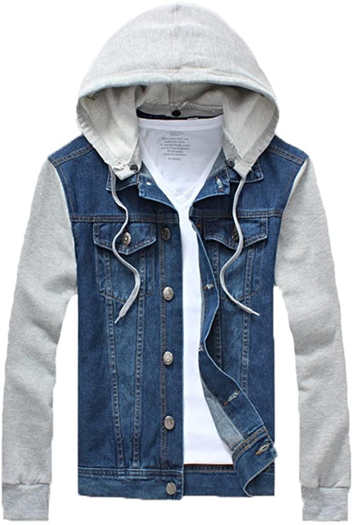 QZUnique Men's Plus Big and Tall Denim Jacket Detachable Hoody Coat