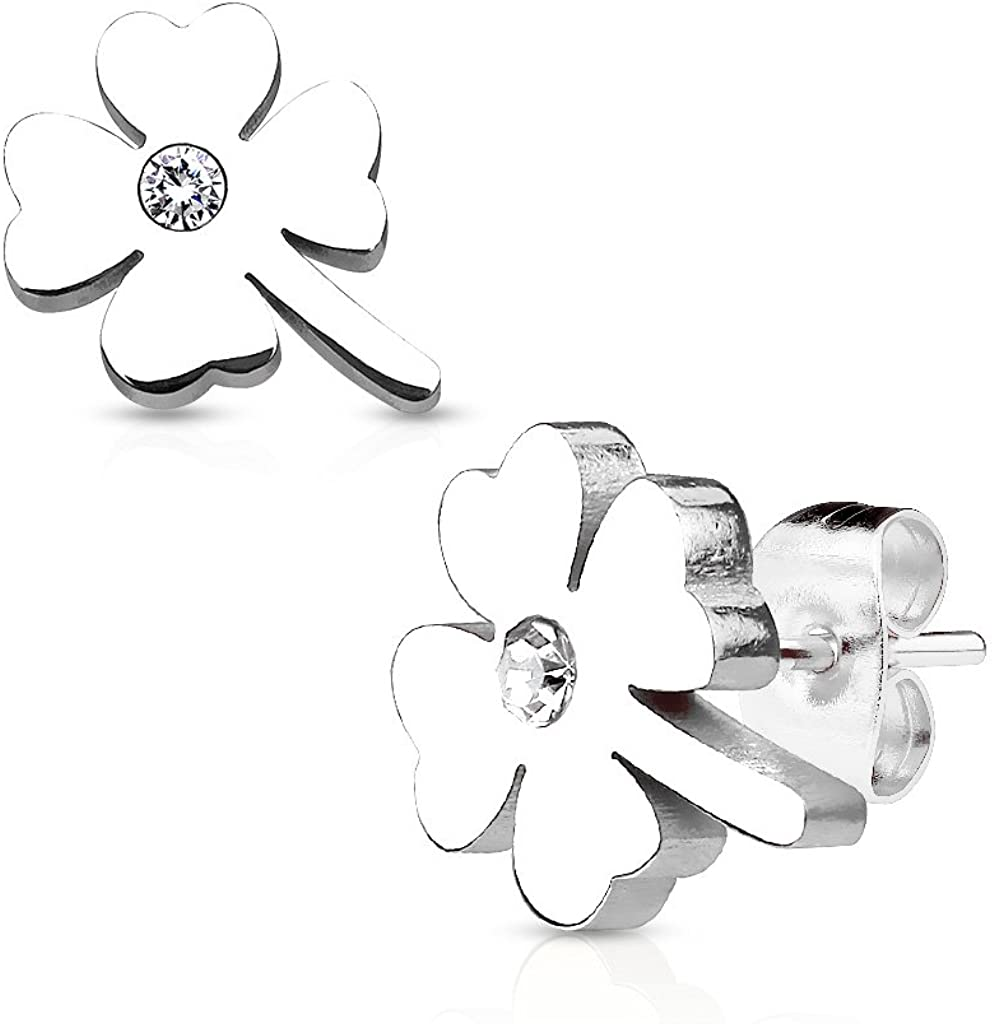 Pair of Shamrock with Crystal Center 316L Stainless Steel WildKlass Earring Studs