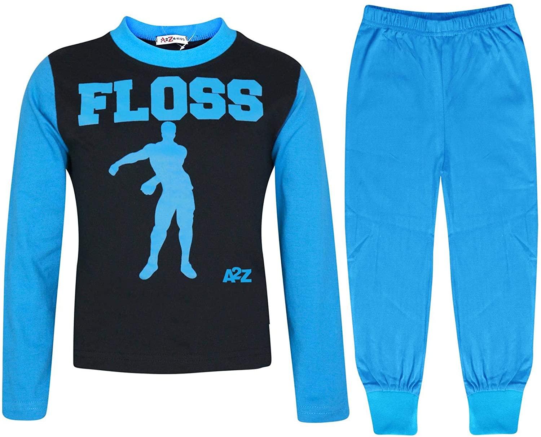 A2Z Kids Boys Girls Pyjamas Blue Trendy Floss Print Christmas Loungewear Outfits