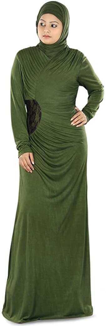 MyBatua Women's Muslim Dress Zahirah Fancy Jersey Abaya in Green