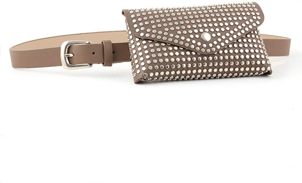 Vpang Women's PU Leather Belt Fanny Pack Fashion Rivet Studded Envelope Waist Bag with Removable Belt Waist Pouch Belt Bag Cellphone Bag (Type 1, Khaki)