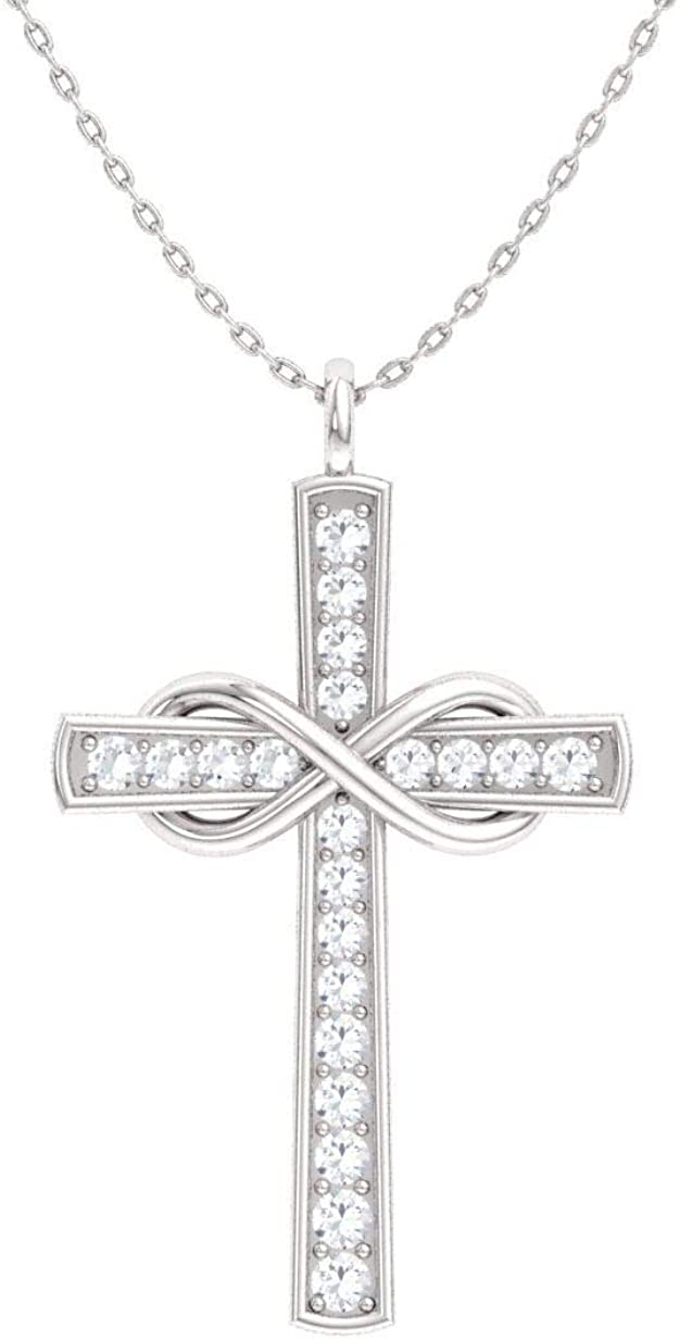 Diamondere Natural and Certified Diamond Cross Infinity Petite Necklace in 14k White Gold   0.12 Carat Pendant with Chain