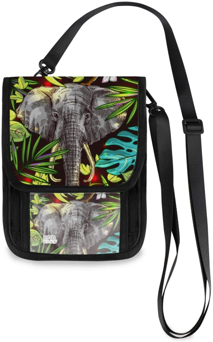 Neck Wallet Travel Neck Pouch - Tropical Floral Animal Elephant Passport Holder with RFID Blocking for Woman Man Lightweight Passport Wallet