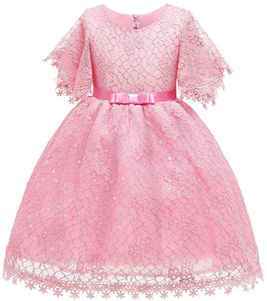 USEMPER Girls Floral Lace Flower Girl Fancy Princess Summer Dress Short Sleeve 2-10Year