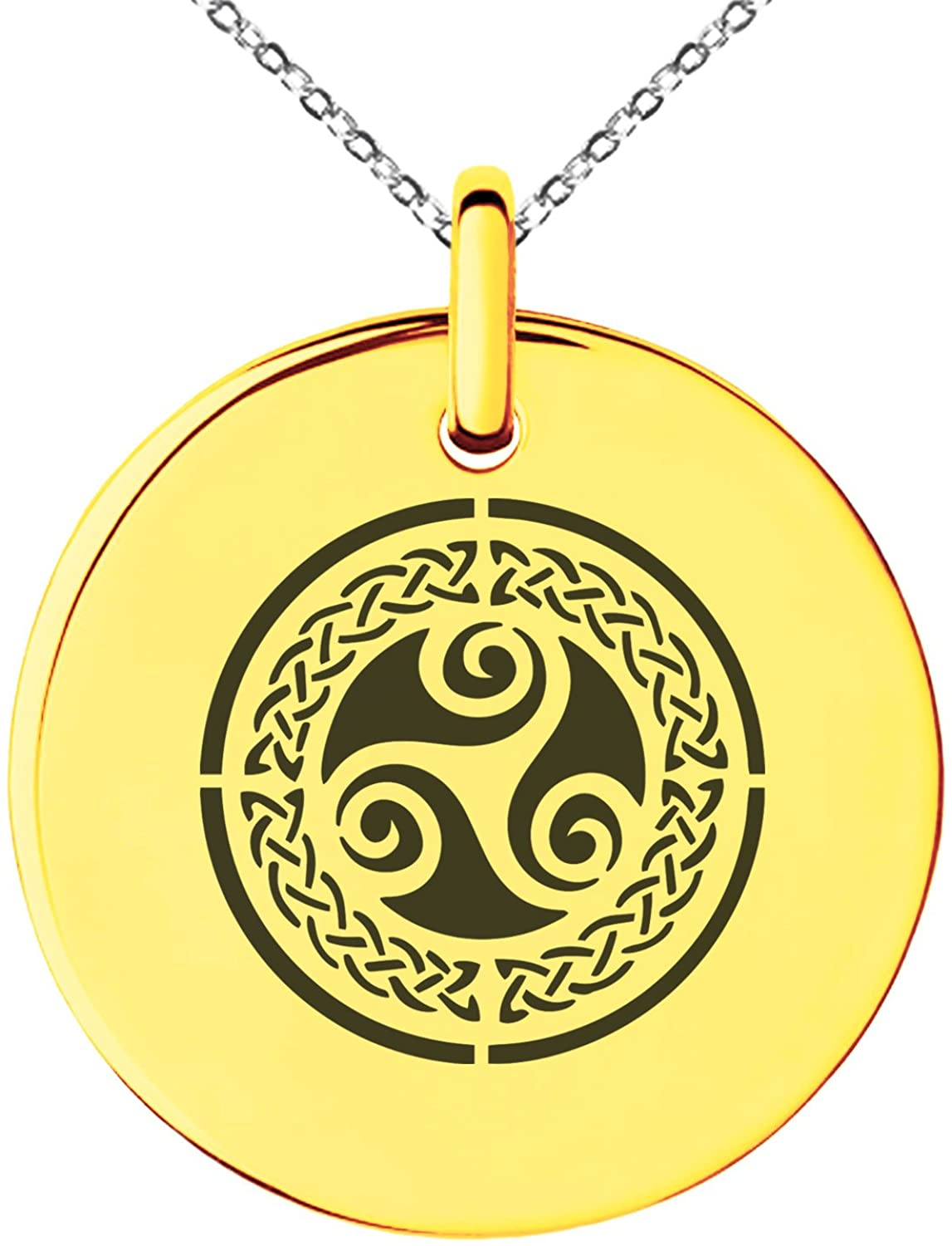 Stainless Steel Celtic Triskele Triskelion Triple Knot Symbol Small Medallion Circle Charm Pendant Necklace