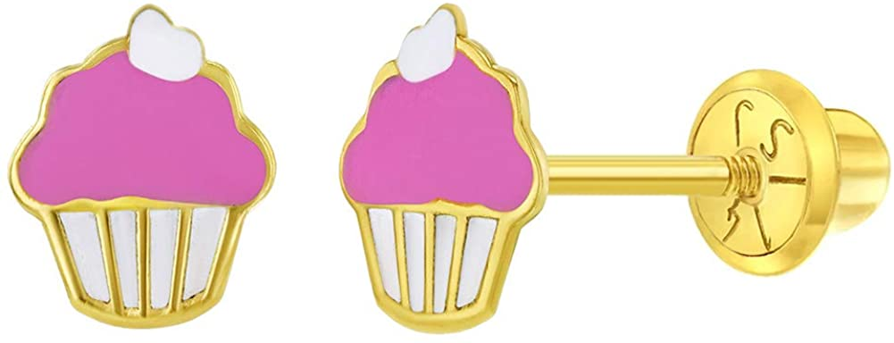 14k Yellow Gold Enamel Cupcake Safety Screw Back Earrings for Toddlers or Girls
