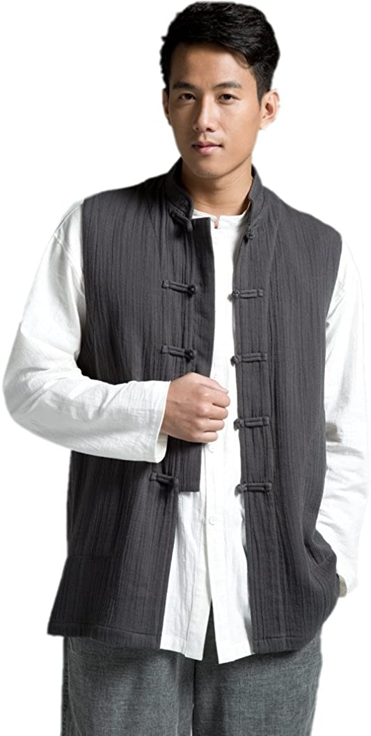 ZanYing Traditional Buddhist Zen Cotton Vest Stand Collar Monk Outfit Vest