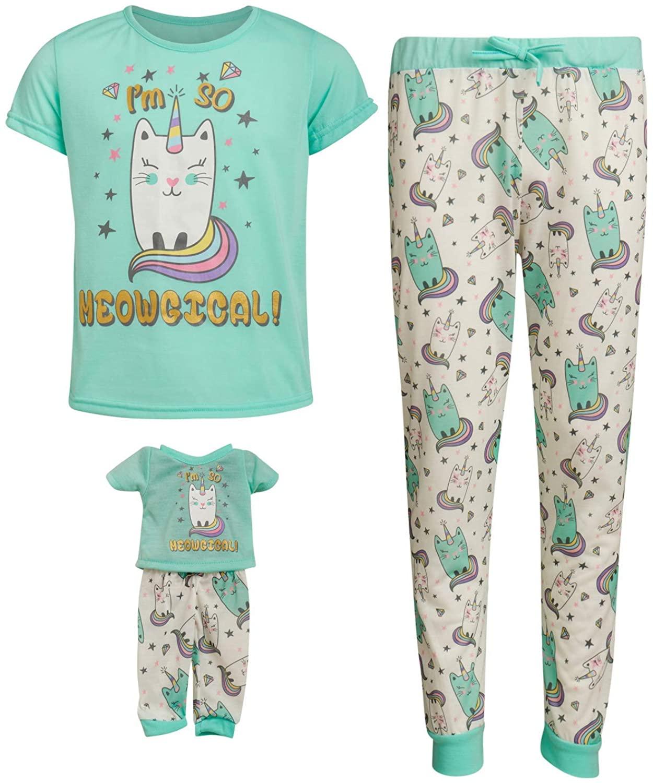 BFF & Me Girls' 2-Piece Short Sleeve Jogger Pajama Pant Set with Matching Doll Pajamas