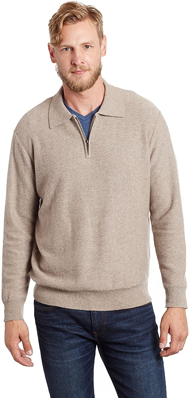 Invisible World Men's 100% Cashmere Herringbone Pullover Sweater