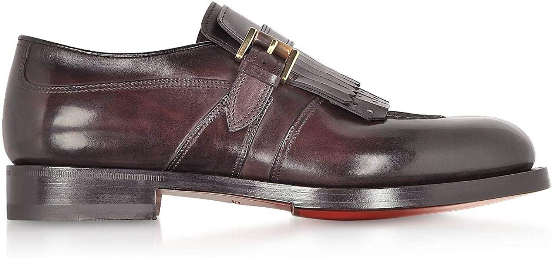 Santoni Luxury Fashion Man MCCO16037MD1HHDGQ348 Burgundy Leather Monk Strap Shoes | Season Permanent