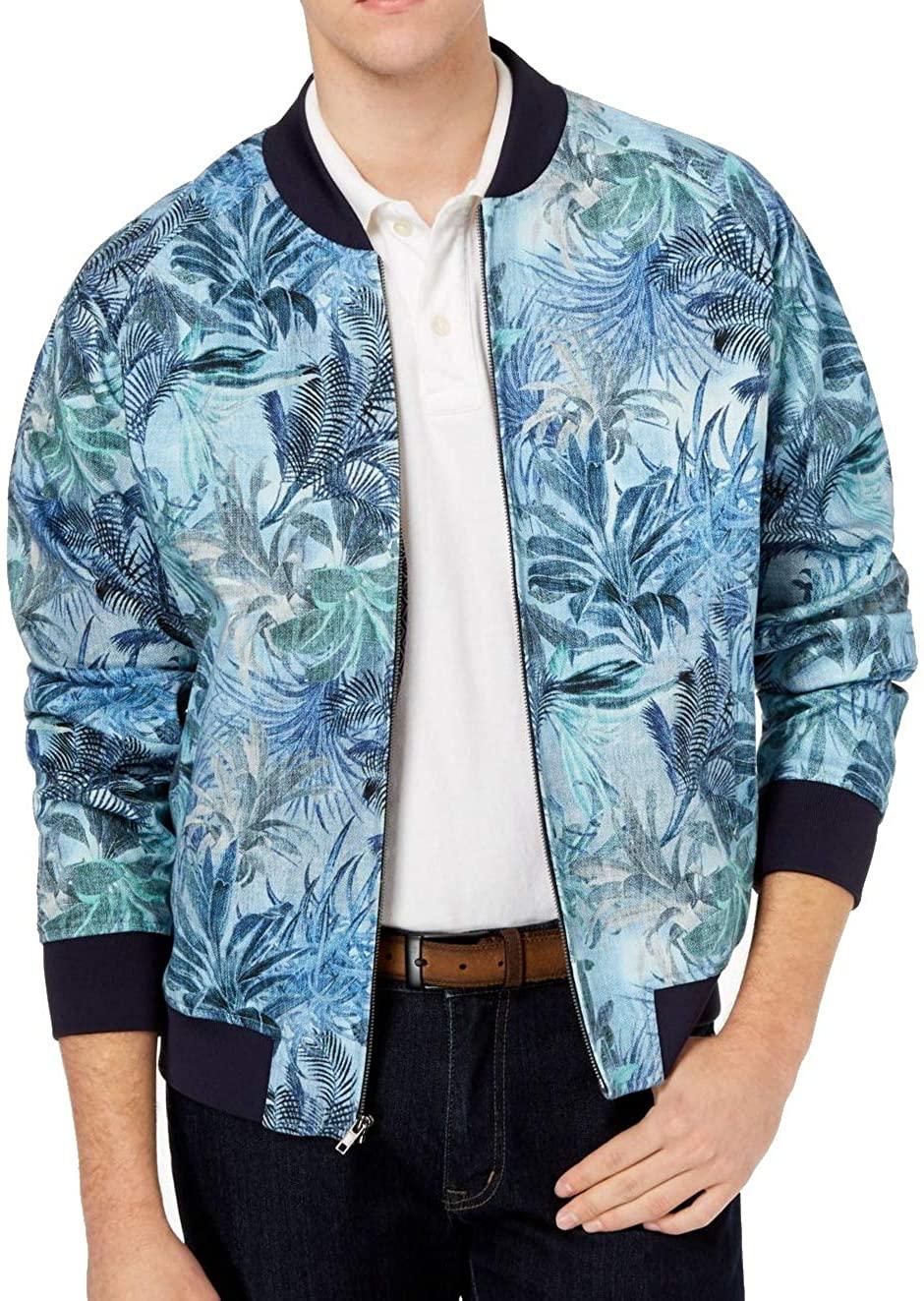 Tallia Mens Modern-Fit Tropical Print Bomber Jacket