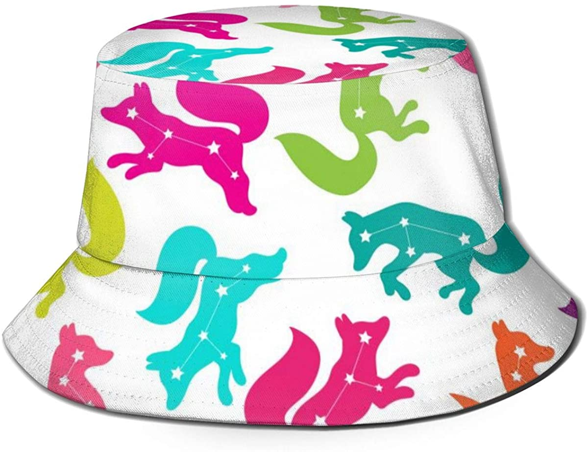 Bucket Hats for Teens Constellation of The Fox Beach Bucket Hat, Uv Bucket Hat, Foldable Sun Bucket Hat, Fisherman Hat