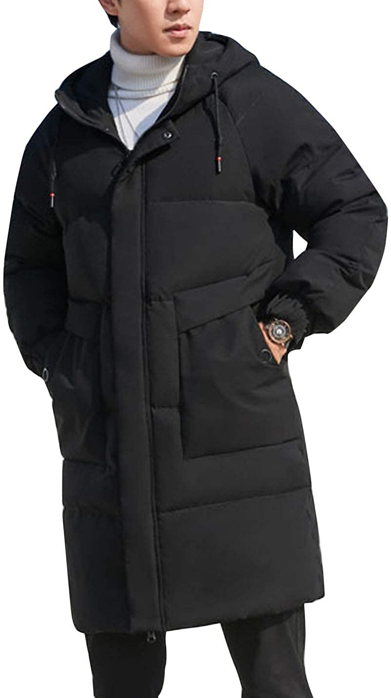 Flygo Men's Thickened Winter Long Down Coat Hooded Quilted Puffer Jacket