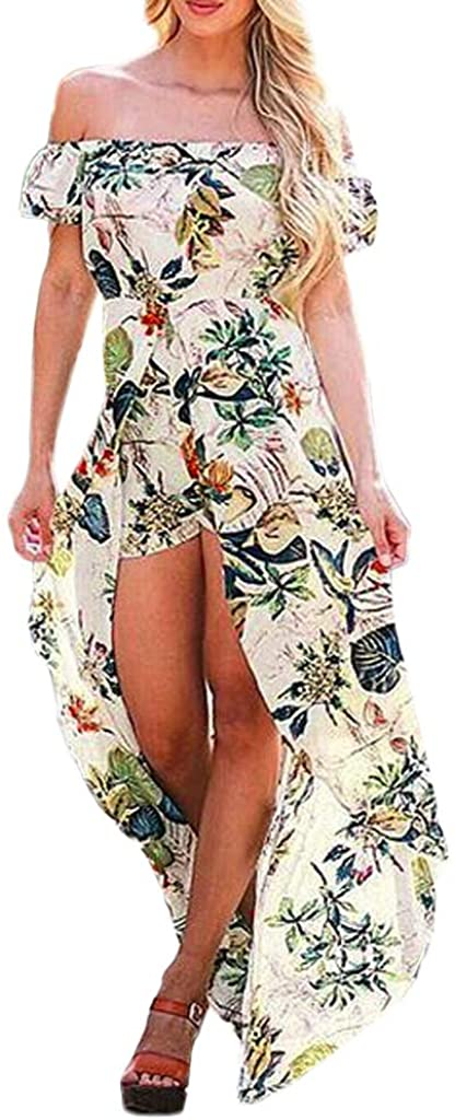 Women Off Shoulder Short Sleeve Floral Printed High Low Hem Beach Party Wedding Dresses