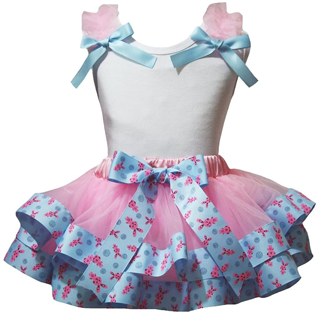 Petitebella White Shirt Rabbits Ribbon Pink Petal Skirt Nb-8y