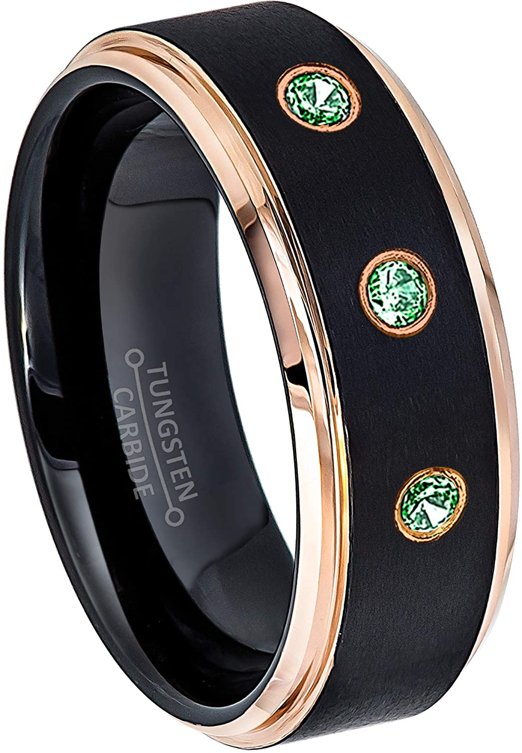 Jewelry Avalanche 0.21ctw Emerald 3-Stone Tungsten Ring - May Birthstone Ring - 8MM Comfort Fit Matte 2-Tone Black & Rose Gold Stepped Edge Tungsten Carbide Wedding Band