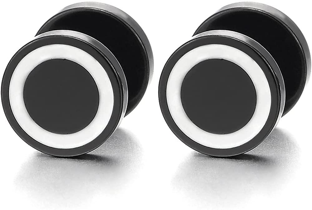 2pcs Mens Women Black Steel Circle Stud Earrings with White Enamel, Cheater Fake Ear Gauges