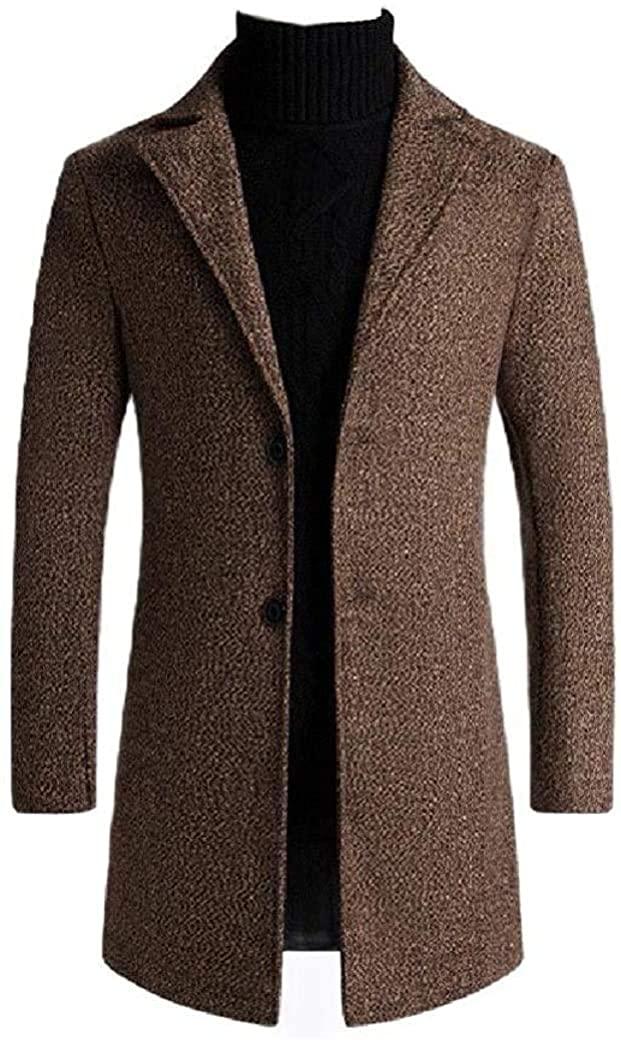 Aysselt Men Coat Fall Winter Two-Button Woolen Mid Long Parka Hoodie Jackets