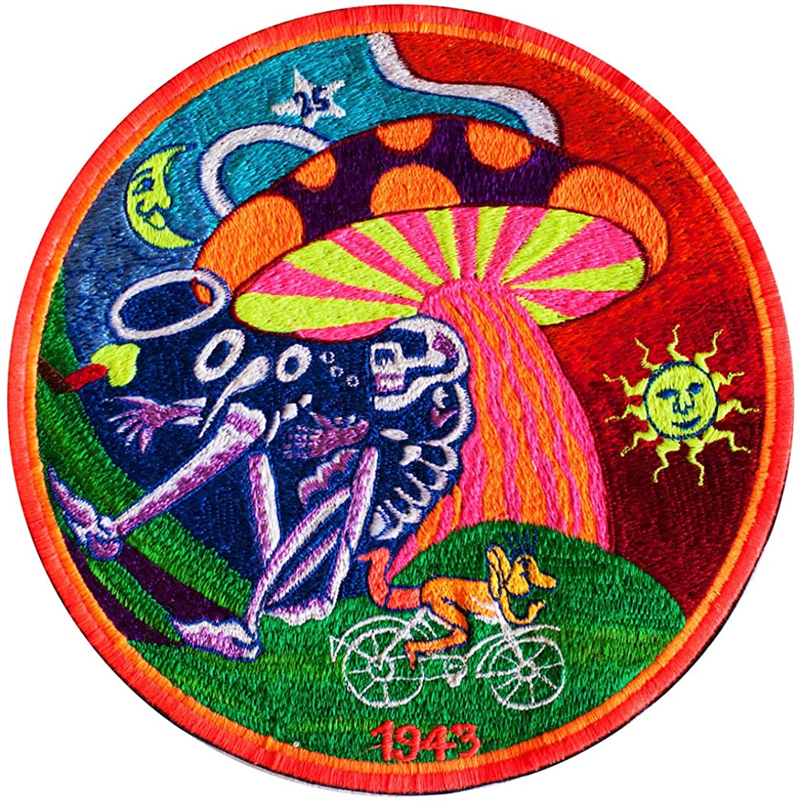 ImZauberwald Bicycleday Shroom ~7 inch UV glowing Grateful LSD psychedelic patch