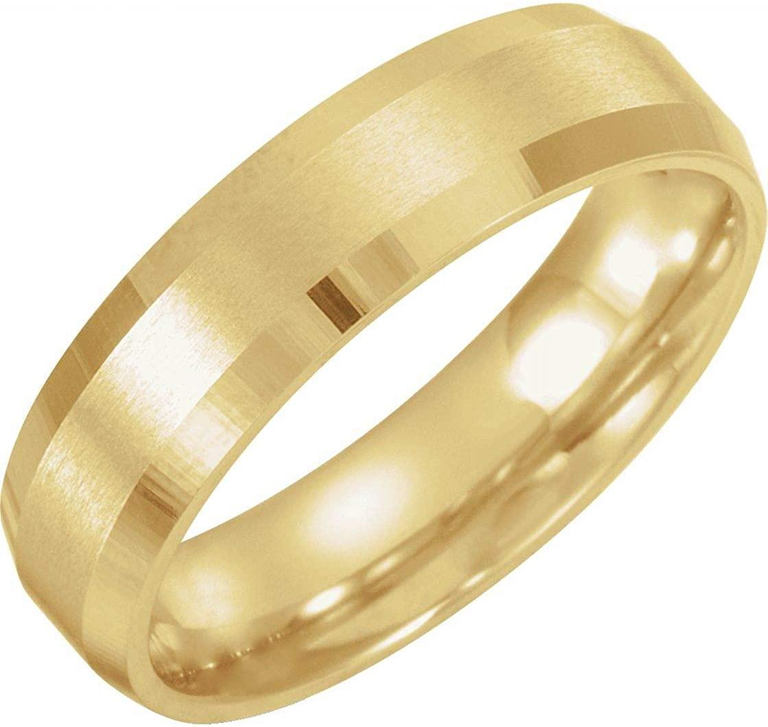 Bonyak Jewelry 10k Yellow Gold 6mm Beveled-Edge Band with Satin Finish - Size 10.5