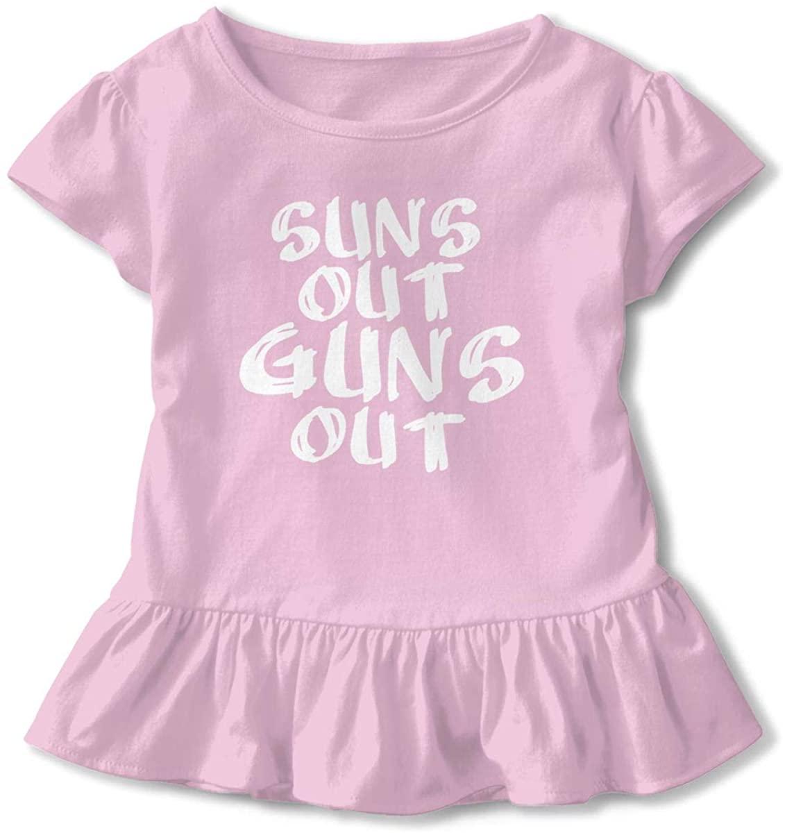Suns Out Guns Out Girls Short Sleeve Ruffle Top Black