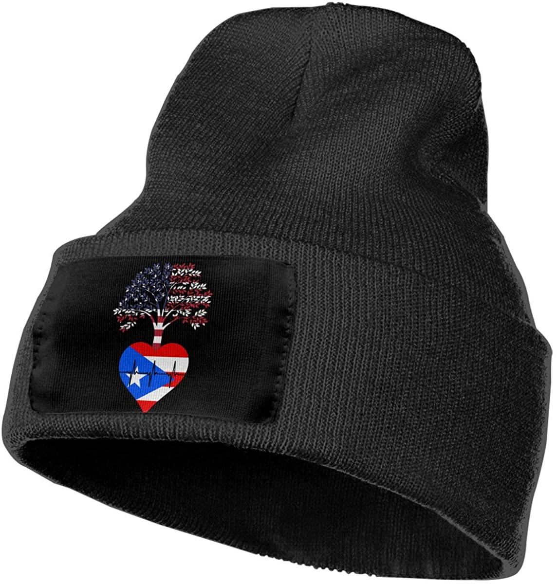 Unisex Beanie Hat Puerto Rico US Root Heartbeat Knit Hat Cap Skull Cap
