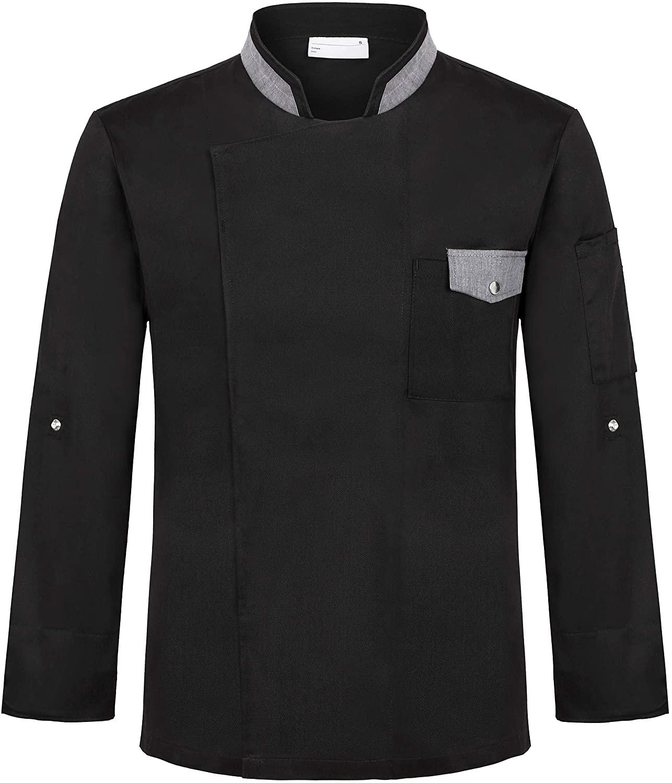 Long Sleeve Chef Coat Unisex Kitchen Uniforms with Grey Trim Collar