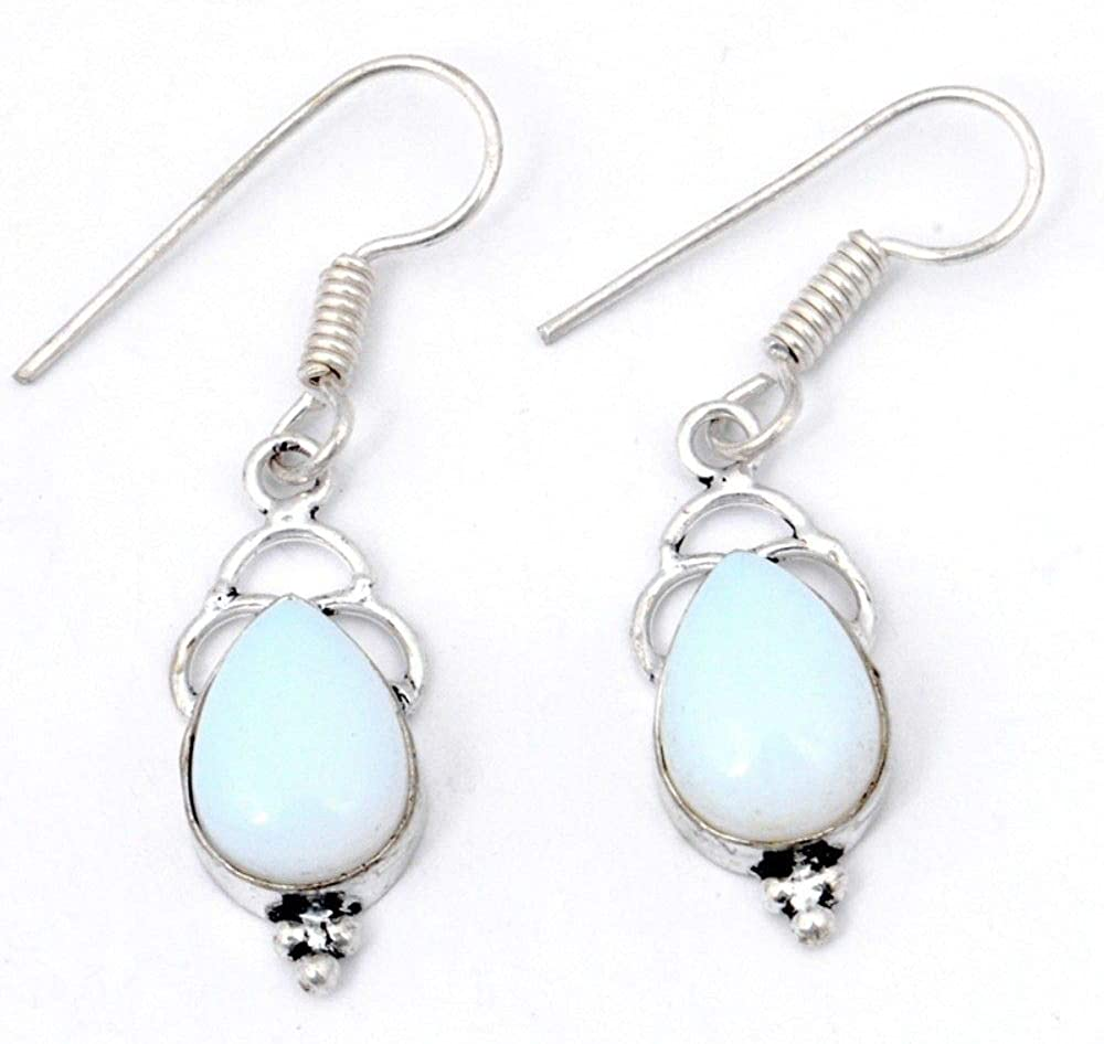 White OPALITE! Retro Fashon Spouses EARRING 1.5! Sterling Silver Plated! HANDMADE! From Shivi