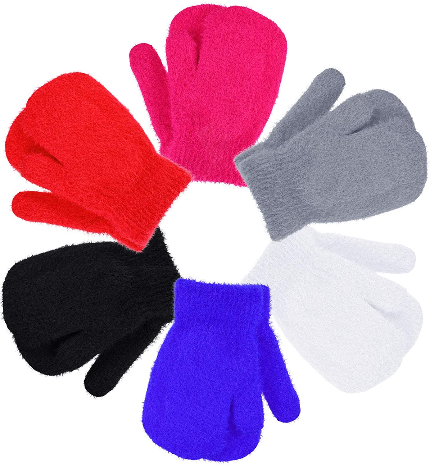 6 Pairs Kids Magic Stretch Mittens Warm Fluffy Knit Mitten Gloves for Boys and Girls Winter Supplies