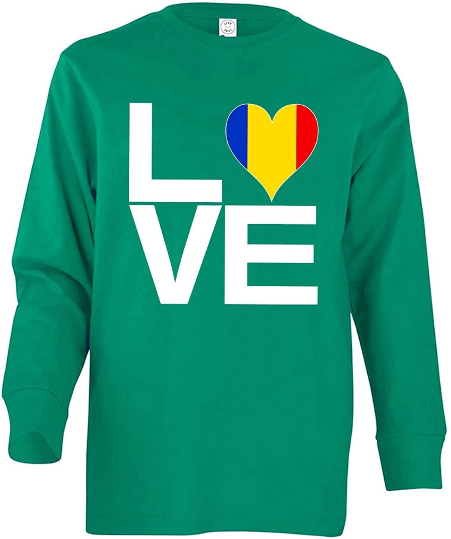 Tenacitee Girl's Youth Love Block Romania Heart Long Sleeve T-Shirt