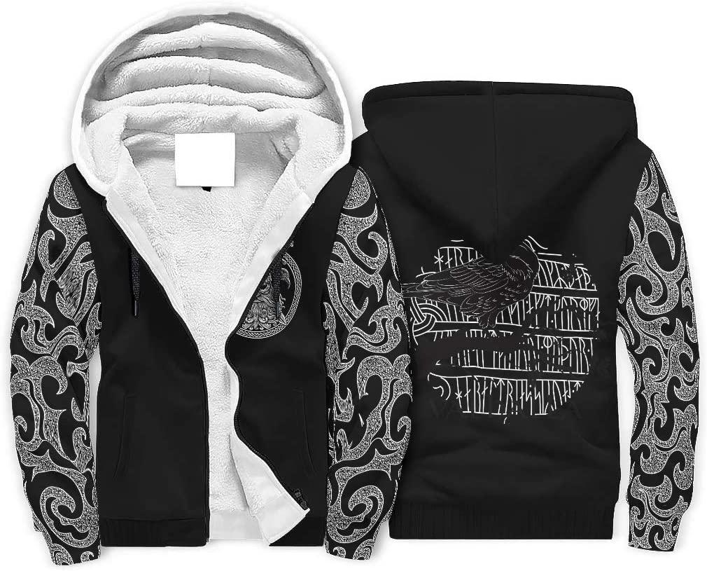 UAright Men's Long Sleeve Full Zip Viking Theme Fleece Sherpa Sweatshirt Winter Plus Padded Hoodie Jacket Coats with Pockets White 3XL