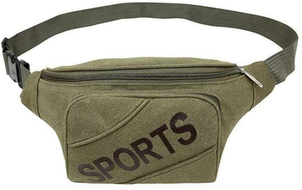 Youngate Canvas Waist Bag Adjustable Belt Fanny Pack Bag for Travel Sports(Green)