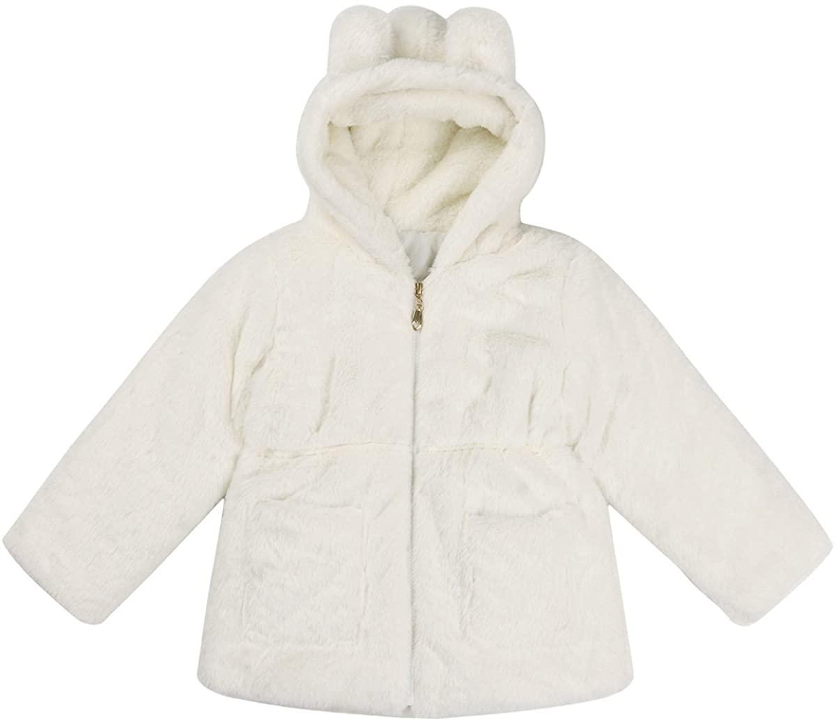ACSUSS Kids Toddler Girls Long Sleeves Faux Fur Ear Hooded Fleece Lapel Jacket Coats