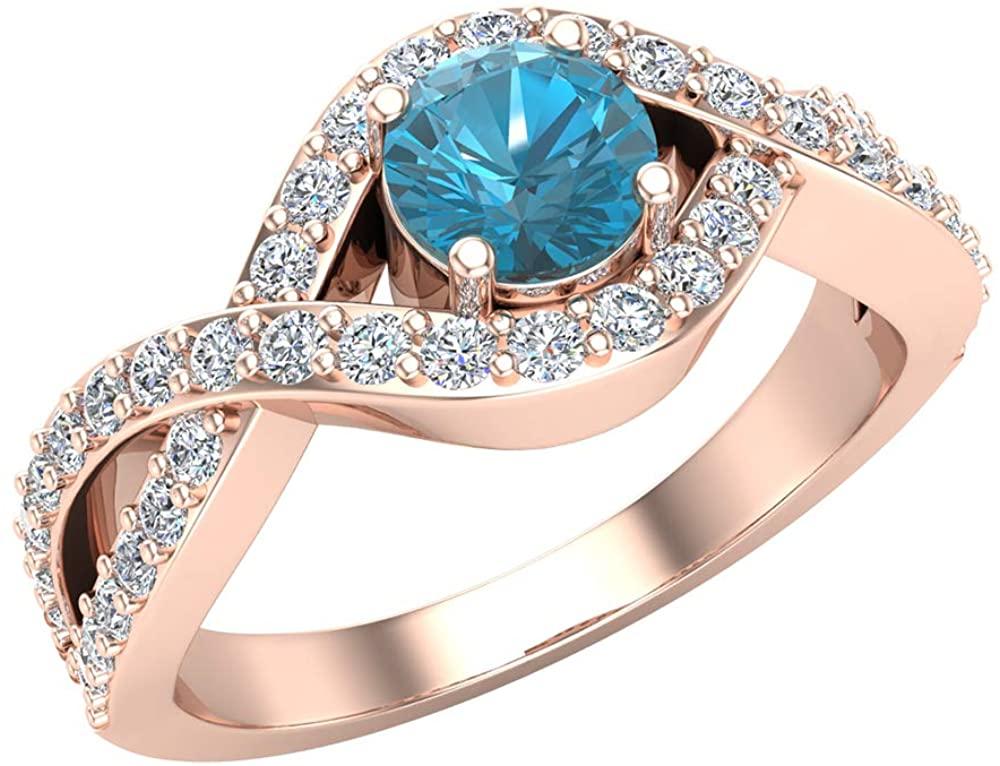 Blue & White Diamond Engagement Ring 14k Gold 0.80 ct tw