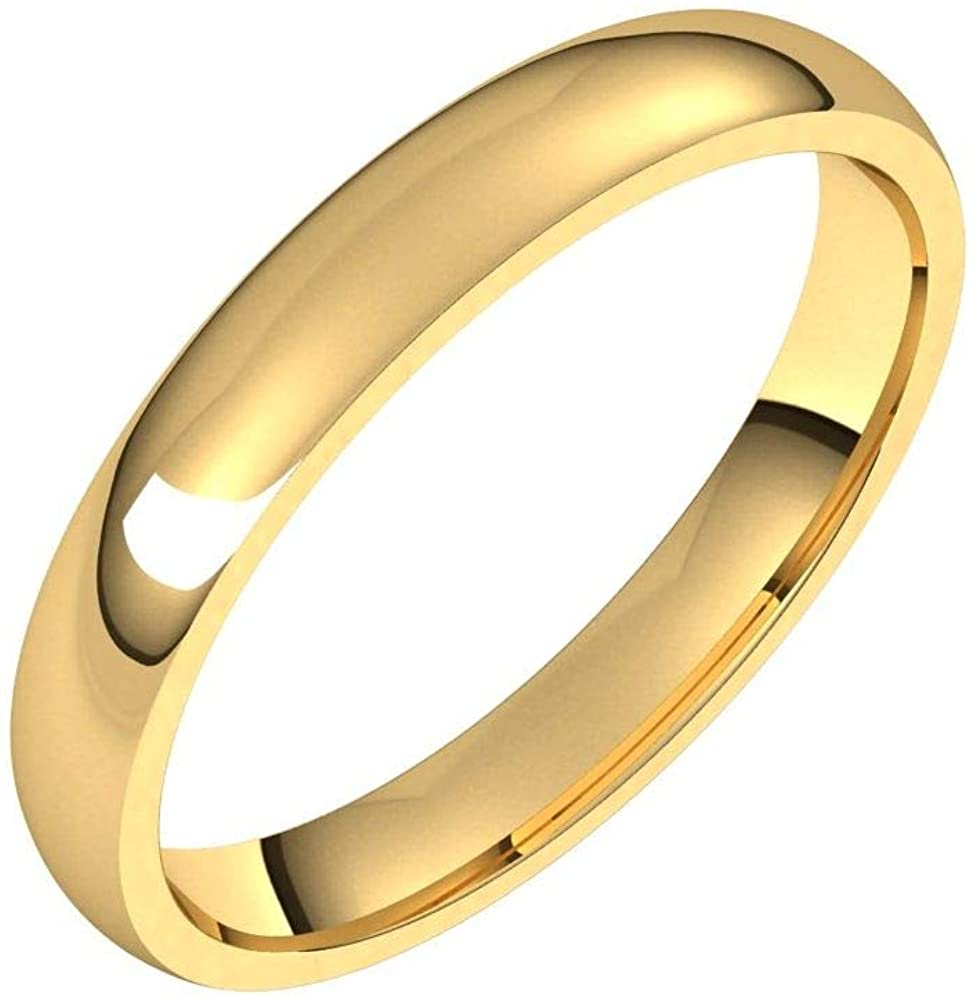 Solid 18K Yellow Gold 3mm Half Round Comfort Fit Light Wedding Band Size 4