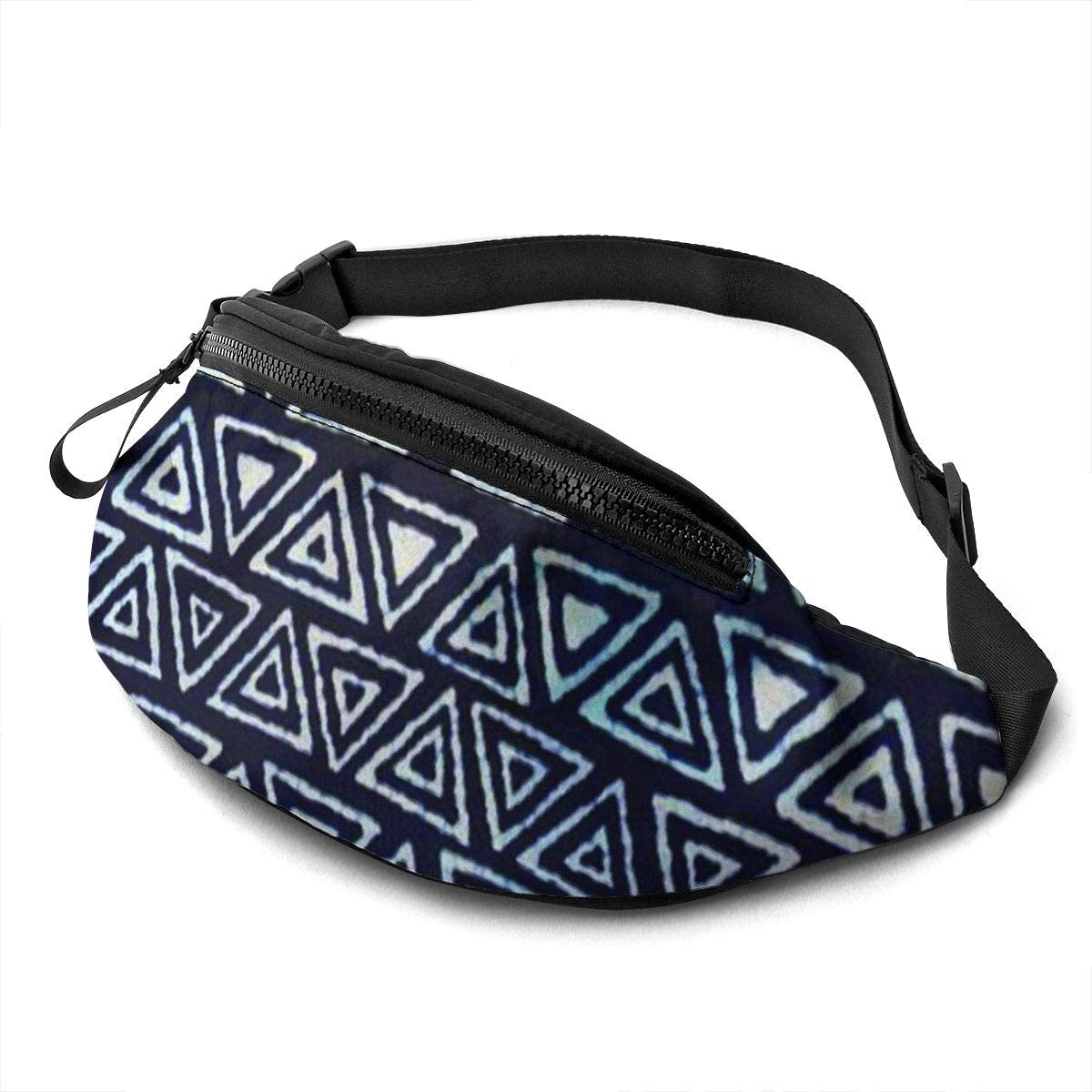 Blue And White Batik Fanny Pack For Men Women Waist Pack Bag With Headphone Jack And Zipper Pockets Adjustable Straps