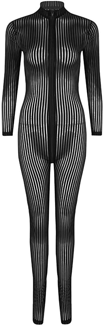 CHICTRY Women's Turtleneck Long Sleeve Zipper Closure Striped Catsuit Bodysuit